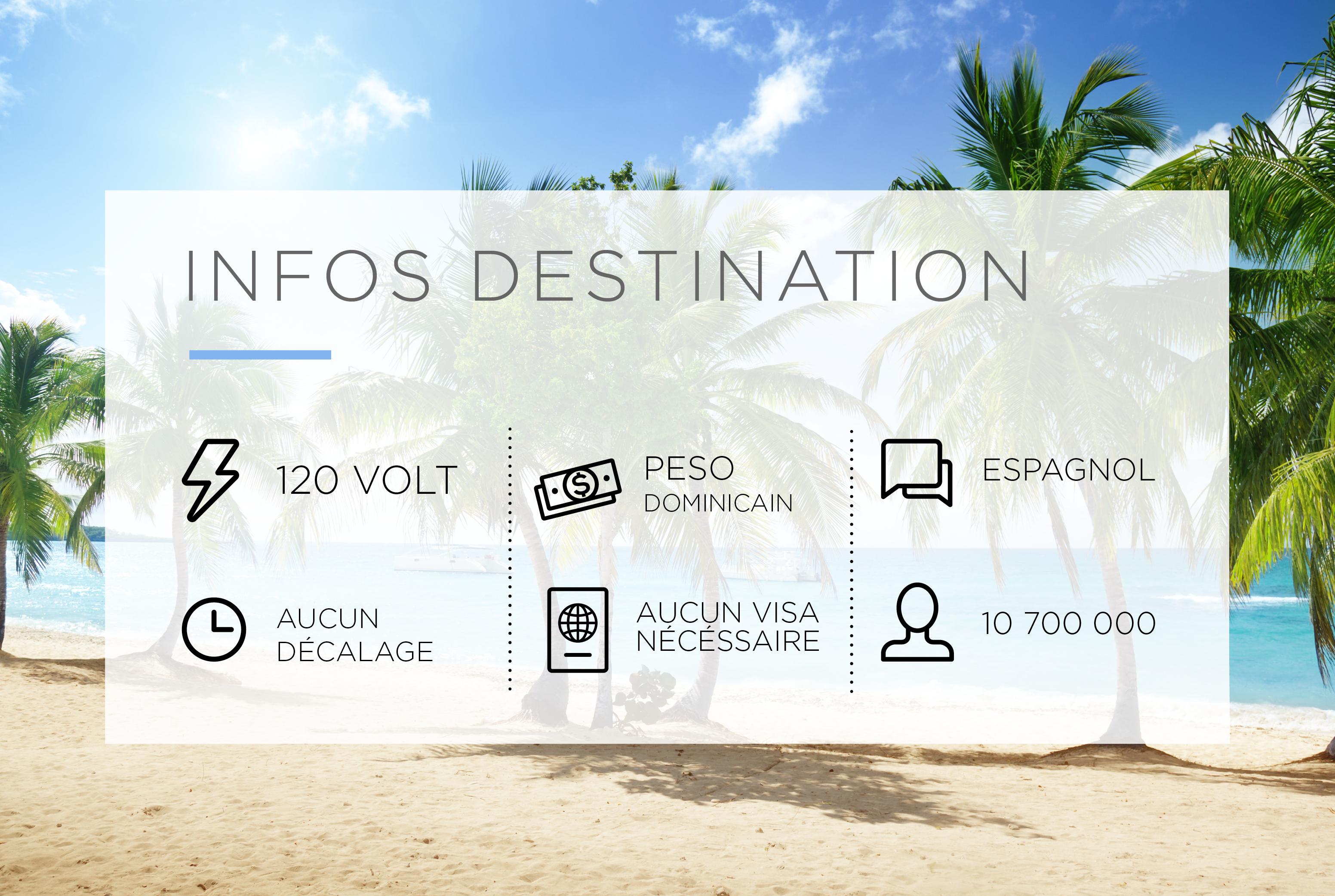 Infos destination Puerto Plata. Électricité: 120 volt. Monnaie: Peso dominicain. Langue: Espagnol. Décalage horaire: aucun. Exigences d'entrée: aucun visa nécessaire. Population: 10 700 000.